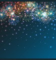 brightly colorful fireworks on twilight background vector image vector image
