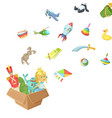 cartoon children toys of box vector image vector image