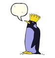 cartoon emperor penguin with speech bubble vector image vector image