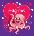 cartoon octopus ready for a hugging vector image