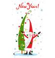 christmas tree santa claus and the garland vector image vector image