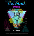 cocktail blue hawaii on artistic polygon vector image