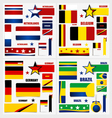 Collection of Brazil Flags Belgium Flags Germany vector image