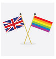 crossed union jack and colorful pride flags vector image