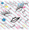 cute fashion pattern with patch badges lips heart vector image vector image