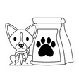 cute pet dog with food bag vector image vector image