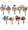 cute scientist children working on physics science vector image vector image