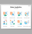 data analytics icons flat pack vector image vector image