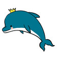dolphin with crown on white background vector image