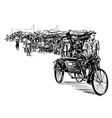 drawing rickshaw at local market in myanmar vector image vector image