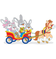 Easter bunnies riding a pony carriage vector image vector image