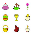 easter holiday icons set cartoon style vector image vector image