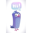 Funny cartoon blue bird with speech bubble vector image