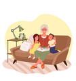 grandmother reading book to children grandma vector image
