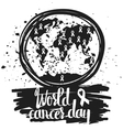 Hand drawn typography poster for the world cancer vector image vector image