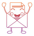 happy message envelope kawaii icon image vector image vector image