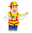 happy repairman with tape measure vector image
