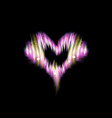 heart icon of flash pink energy strips glow vector image vector image
