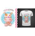 hippo hippopotamus - idea for print t-shirt vector image vector image