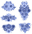monochrome collection of fancy decoration floral vector image