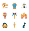 old egypt icons set cartoon style vector image vector image