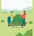 people cutting bush with gardening scissors vector image