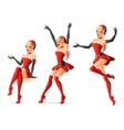 Pretty girls in Santa costumes in different poses vector image vector image
