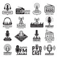 radio station logo music studio podcast speaker vector image vector image