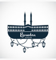 ramadan kareem sign of the mosque with hanging vector image vector image