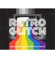 retro glitch tv with rainbow vector image vector image