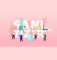 sanitizer concept tiny people characters wash vector image