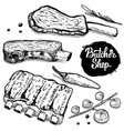 set of hand drawn beef ribs with spices design vector image
