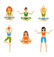 Set with beautiful woman exercising various vector image vector image