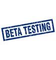 square grunge blue beta testing stamp vector image vector image