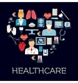 Heart symbol with healthcare and medical icons vector image