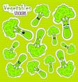 cartoon broccoli cute character face sticker vector image