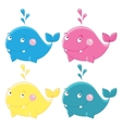 Colorful funny whales character vector image