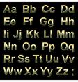 Alphabet pseudo 3d golden letters on a black vector image