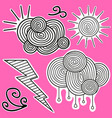 animation black-and-white stickers about weather vector image vector image