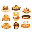 baker with bread and pastry isolated icons vector image vector image