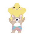 bashower cute bear and star cartoon vector image vector image