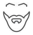 beard and mustache line icon barber and hairstyle vector image