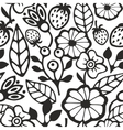 Black and white seamless pattern with plants and vector image vector image