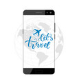 brush calligraphy and smartphone vector image
