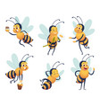 cartoon bee happy flying insect mascot bee nature vector image