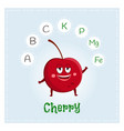 cherry fruit vitamins and minerals funny fruit vector image vector image