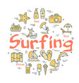 colorful icons in summer surfing theme vector image vector image