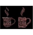 Cups of coffee and tea formed from text clouds vector image vector image
