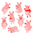 cute pigs vevtor set vector image vector image
