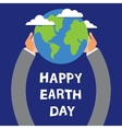 earth day globe in hands of vector image vector image